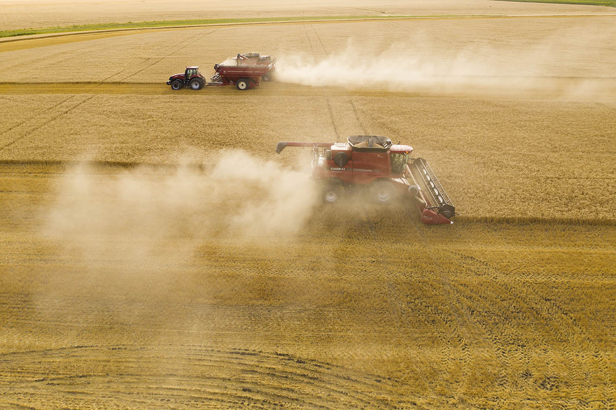Pulverized straw is ejected from the back of the machine creating the dust clouds. © Robert Lowdon