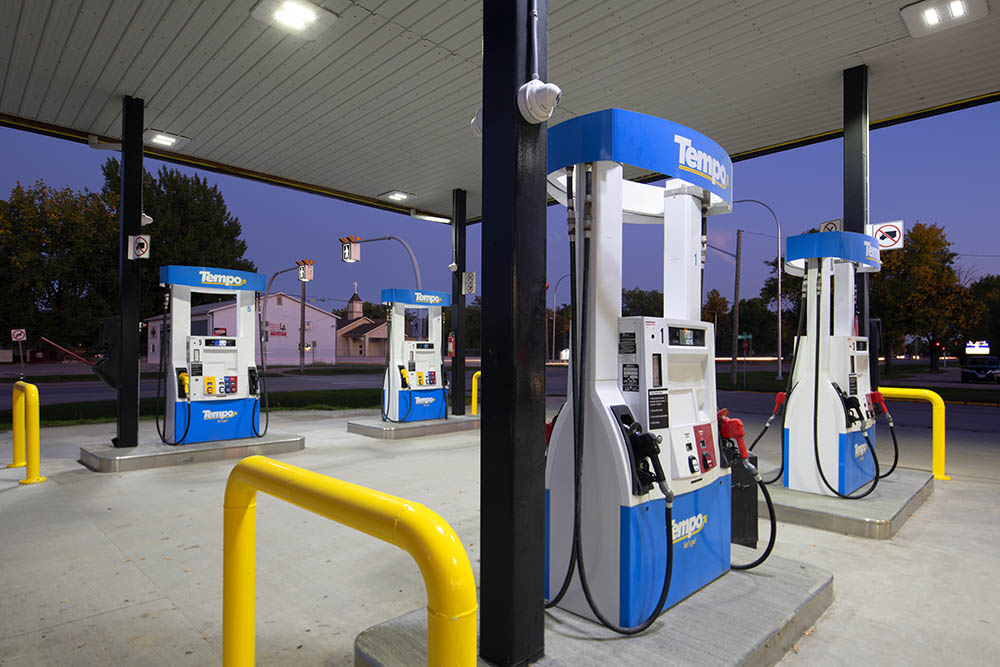 Gas pumps photographed in the early evening. © Robert Lowdon