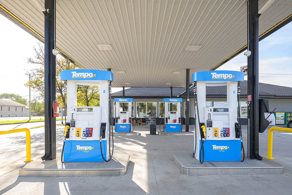 A wide angle shot of the gas pumps, gives depth to the image. © Robert Lowdon