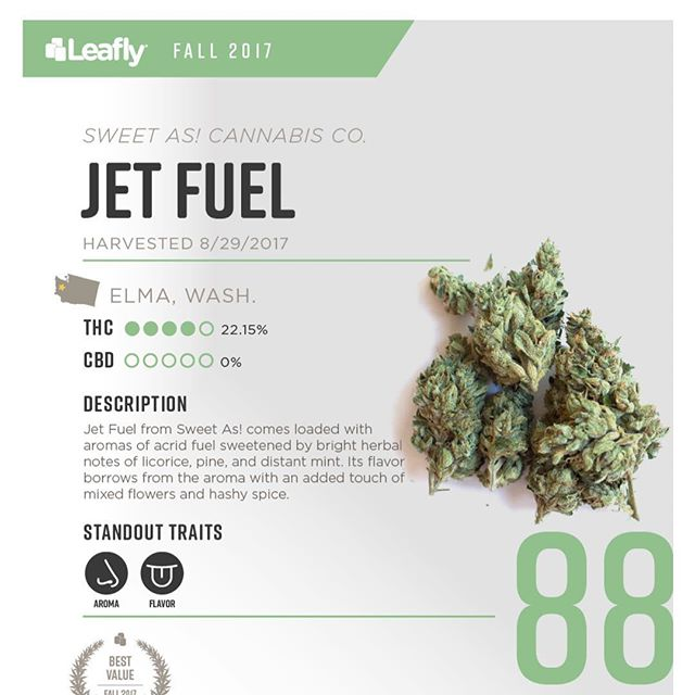 "Thanks for the plug @leafly ! Proud of the squad and humbled by the ""Best Value"" honor- that's a mark we strive for! 🎯 We definitely regard Jet Fuel as a heater, good to know that others agree! #thankyou #grateful #seattlestoners #cannabiscommunity #fam #i502 #legalweed #weed #cannabis #quality #value"