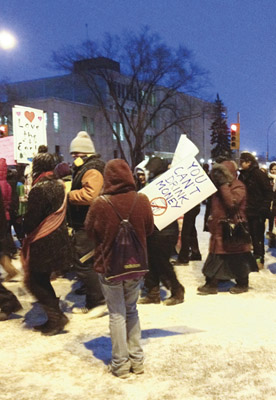 Idle No More demonstration on 18th and Victoria on Friday, January 11 (Holly Kalyniuk/The Quill)