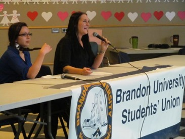 Vice President External candidates Julea Stoneman-Sinclair (left)and Jenna Clinton (right)at the BUSU debate on March 4, 2013. (Brady Knight / The Quill)
