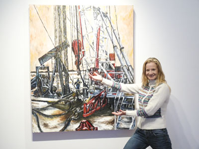 Nicole Myker presenting one of her works. (Tye Dandridge-Evancio / The Quill)