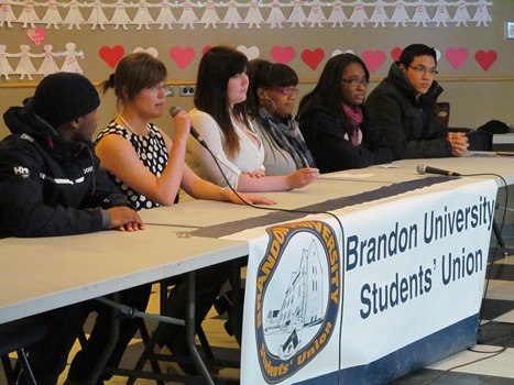 BUSU candidates during the debate on March 4, 2013. (Brady Knight / The Quill