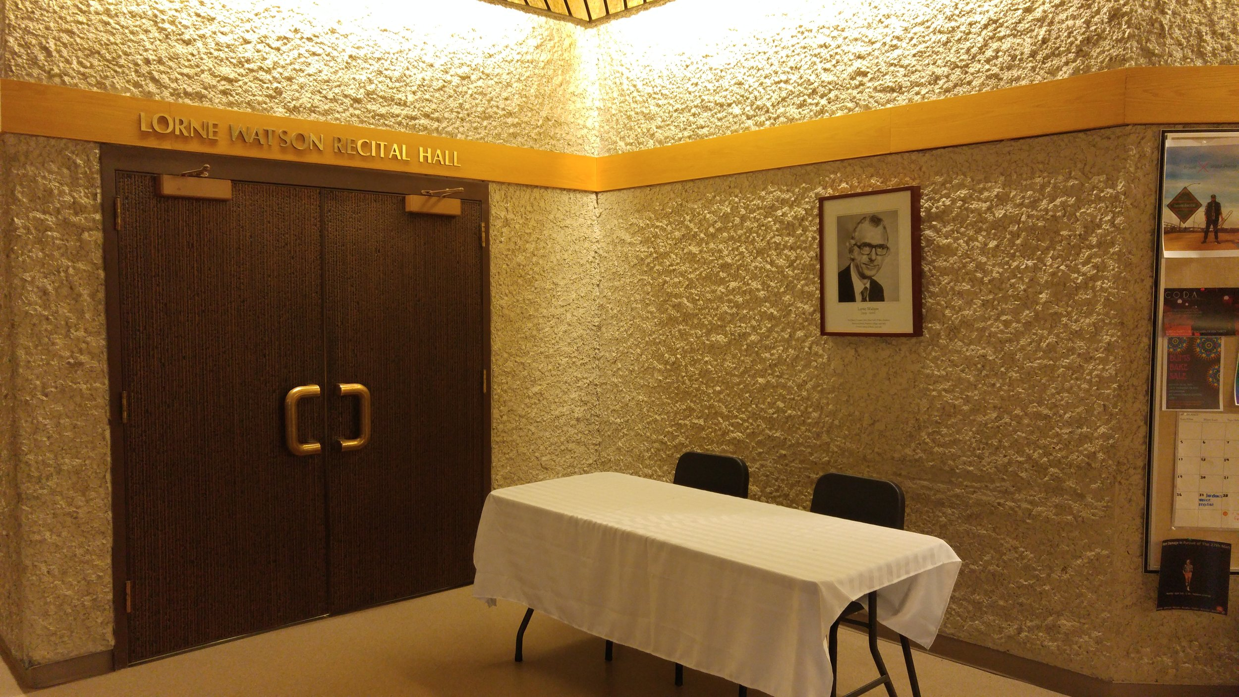 Entrance to the Lorne Watson Recital Hall. (Credit: Logan Praznik/The Quill)