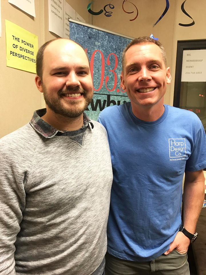 Austin Meek, host of Downtown Depot, with Clint Harp
