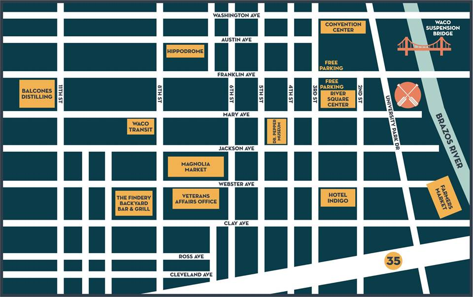 Map showing Waco Paddle Company's downtown location