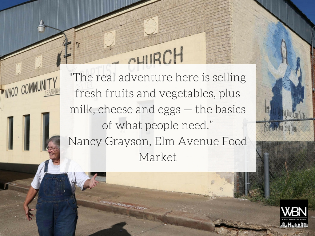 Waco Tribune-Herald staff photo by Rob Aydelotte  Nancy Grayson discusses her plan for the Elm Avenue Food Market in front of its future home on 704 Elm Avenue