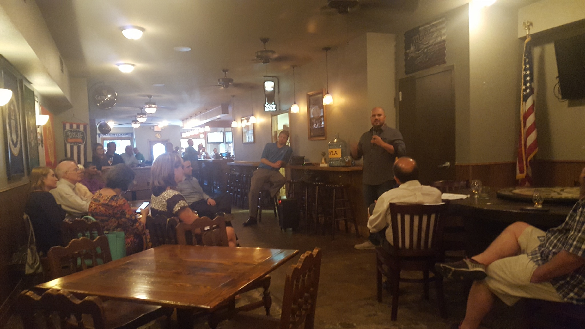 Speaking to the Lake Brazos Rotary Club on September 6, 2017, at Barnett's Pub