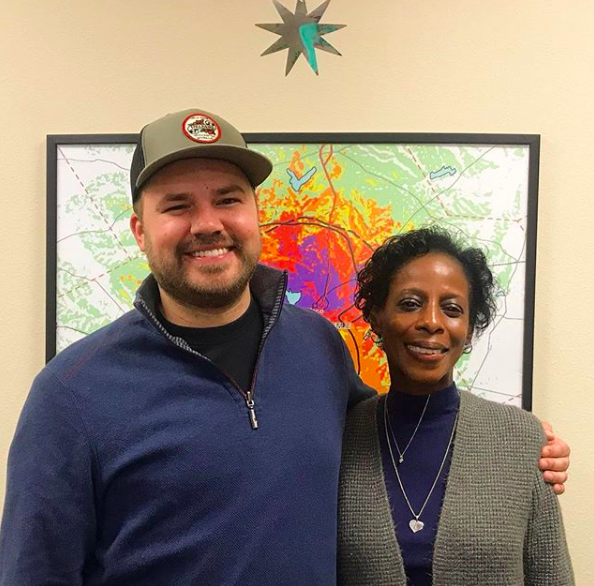 Austin Meek with Patricia Chisolm-Miller