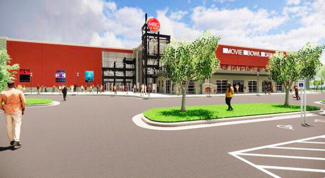 A rendering of Schulman's Movie Bowl Grille, a 90,000-square-foot entertainment center that will anchor a planned mixed-use development at the northeast corner of Interstate 35 and South Loop 340 in Waco.