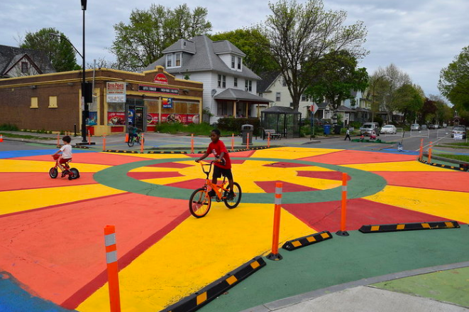 A colorful intersection in Rochester, New York, designed to slow traffic and make the area safer for the many pedestrians and cyclists in the neighborhood.
