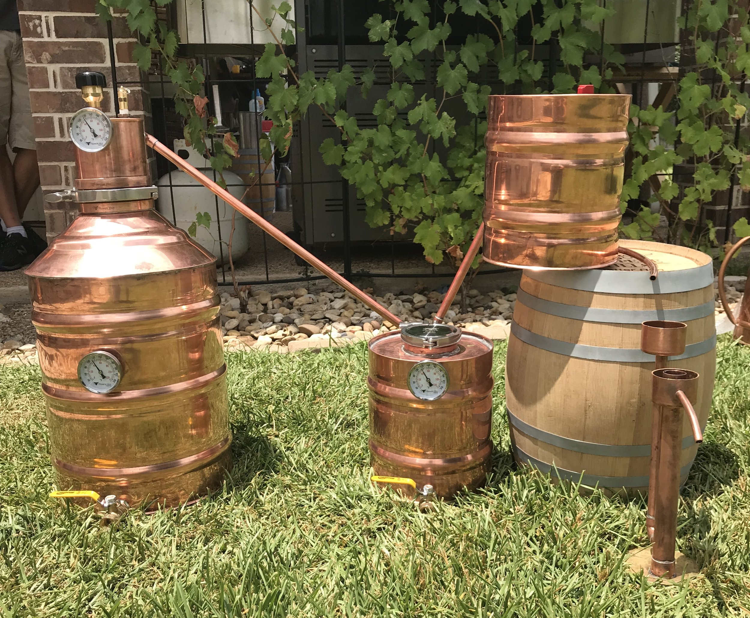 A copper still setup from Stampede Stills, based in Hewitt.