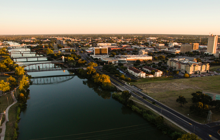 An overhead view of downtown Waco, a booming area along the I-35 corridor in Texas.