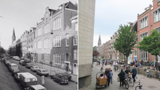 On the left, Amsterdam circa 1970. On the right, Amsterdam present day, a city where pedestrians and cyclists have been given precedence over automobiles.