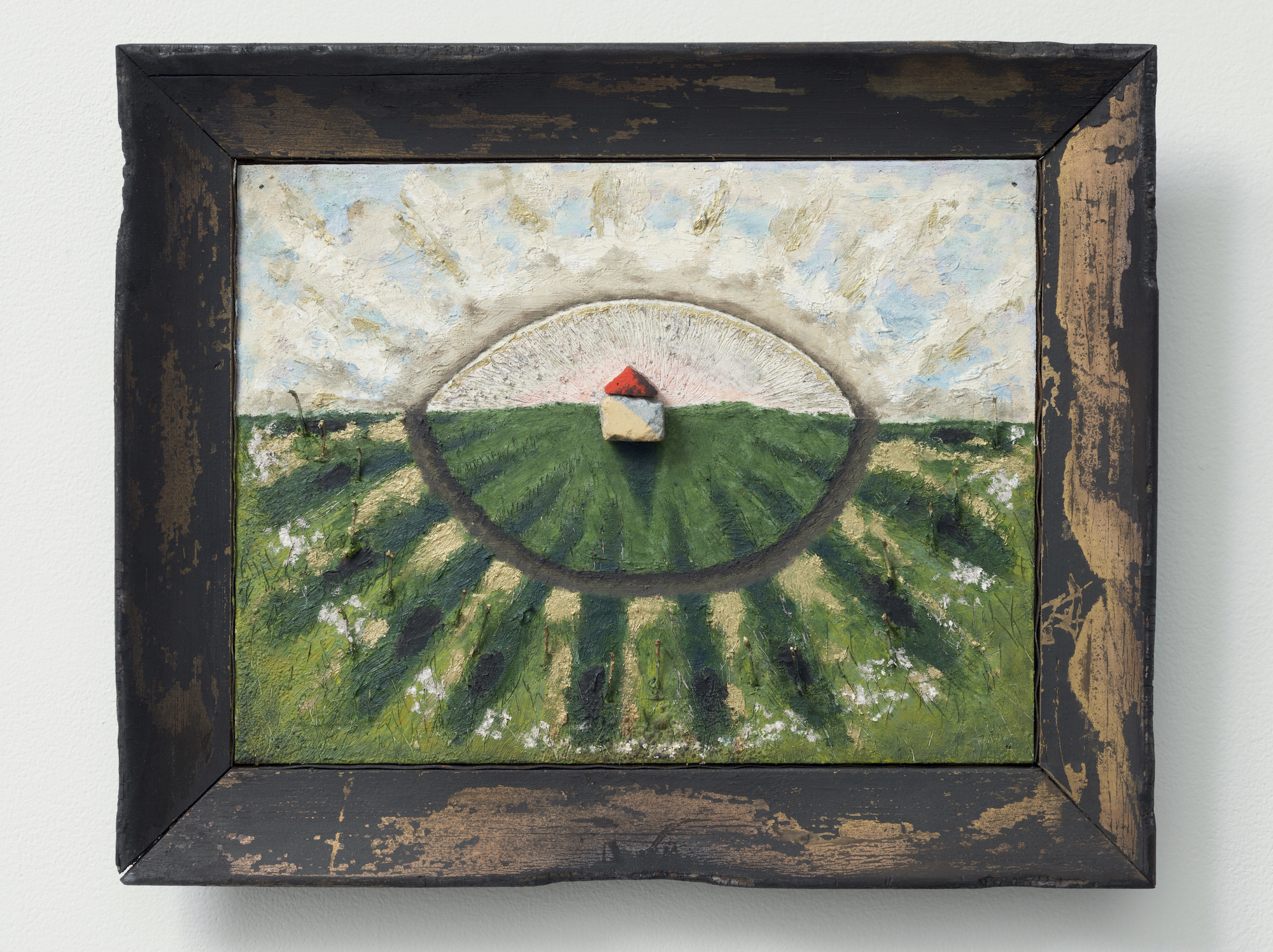 South St. Marys , 2015-16, oil, nails, wood, cement, metal and paper on panel with altered found frame, 14 by 17½ inches; at Western Exhibitions.