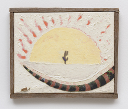 Soltero , 2014, oil, flashe, denim and wood on canvas with cedar frame, at Roberts & Tilton.