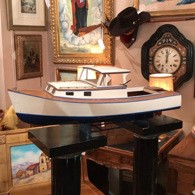 Hand made motor boat model circa 1960's wood.  Handsome!