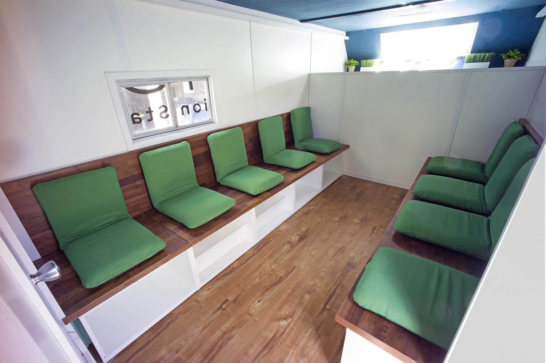 Inside Calm City's 100 square foot mobile meditation studio