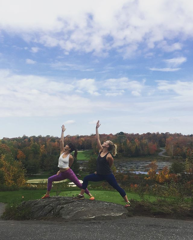 Beautiful fall days are for hiking, finding the perfect yoga photo spot, and tiring out two cute puppy dogs! Thanks for a lovely morning @gypsygirlyoga and Scout 🐶#muskoka #outsideismybestside #fall #muskokayoga #yogaeveryday #girlsbestfriend #tireddoghappydog
