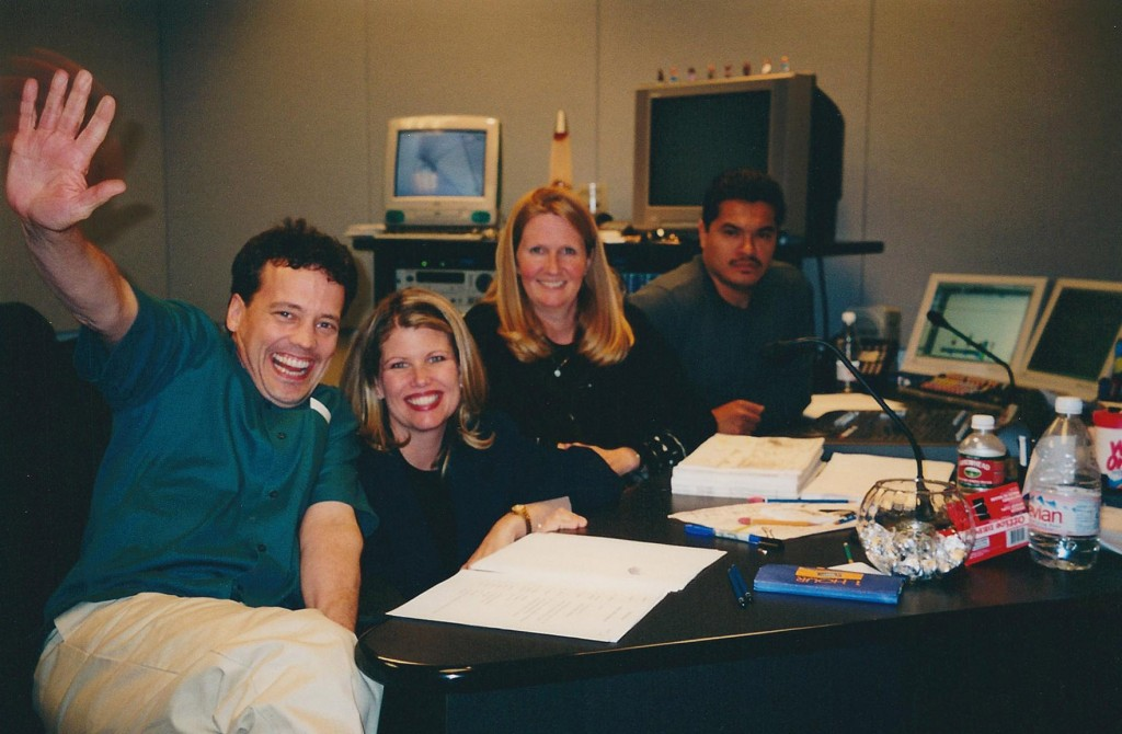 The Other Side of the Recording Booth at Cartoon Network Studios.  From left, Dee Bradley Baker, Collette Sunderman, Kris Zimmerman, Robert Serda, 2001