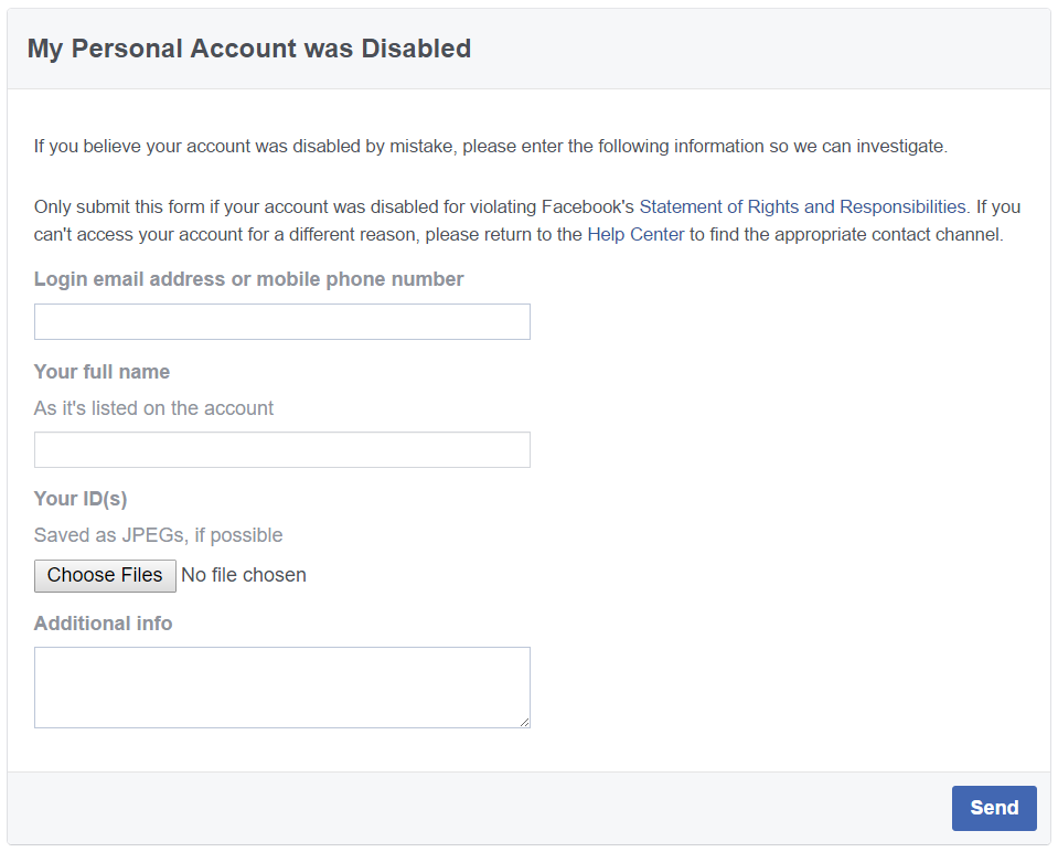 Facebook's online form to appeal a disabled account.