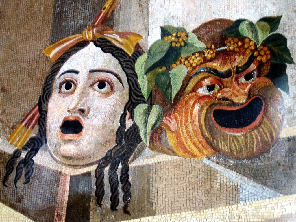 Tragedy & Comedy Masks, Hadiran's Villa mosaic, 2nd century CE.