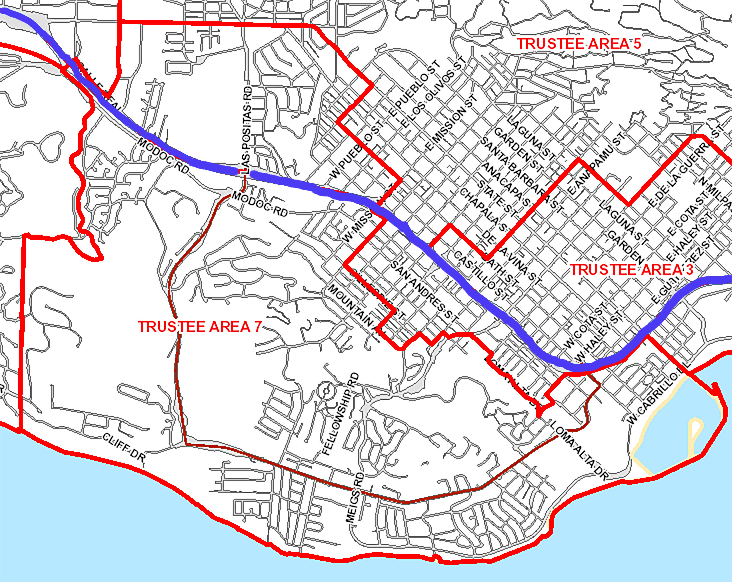 This is Trustee Area 7, including the Mesa, Hidden Valley, Samarkand, and parts of the Westside and West Beach. The blue line is the 101—if you need to see a more detailed map, there is an interactive trustee area map  here .