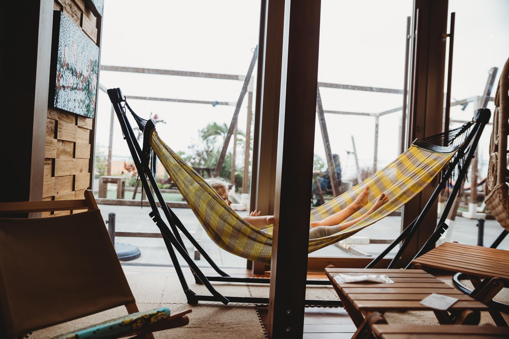 A hammock cafe where she tested every single hammock