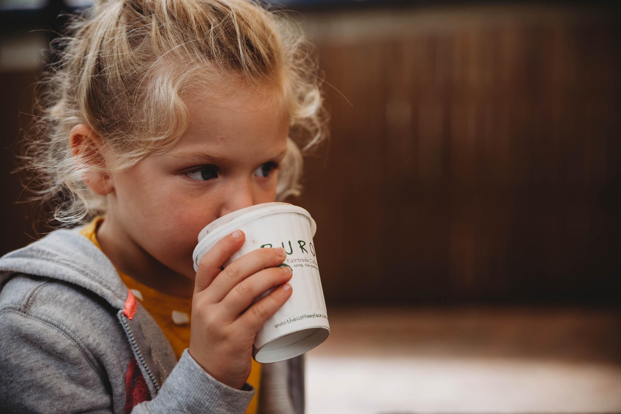Abigail didn't love her hot chocolate but she did like my coffee