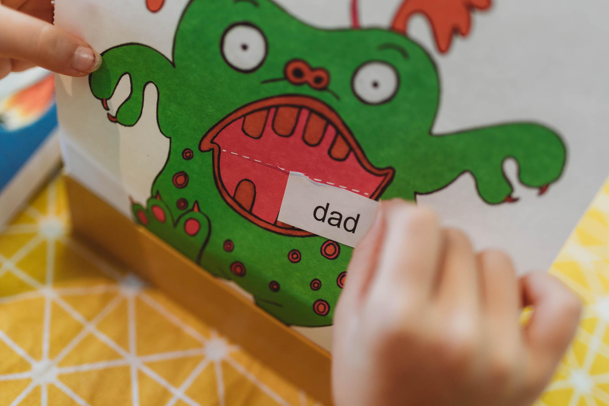 feeding the monster CVC (consonant vowel consonant) words