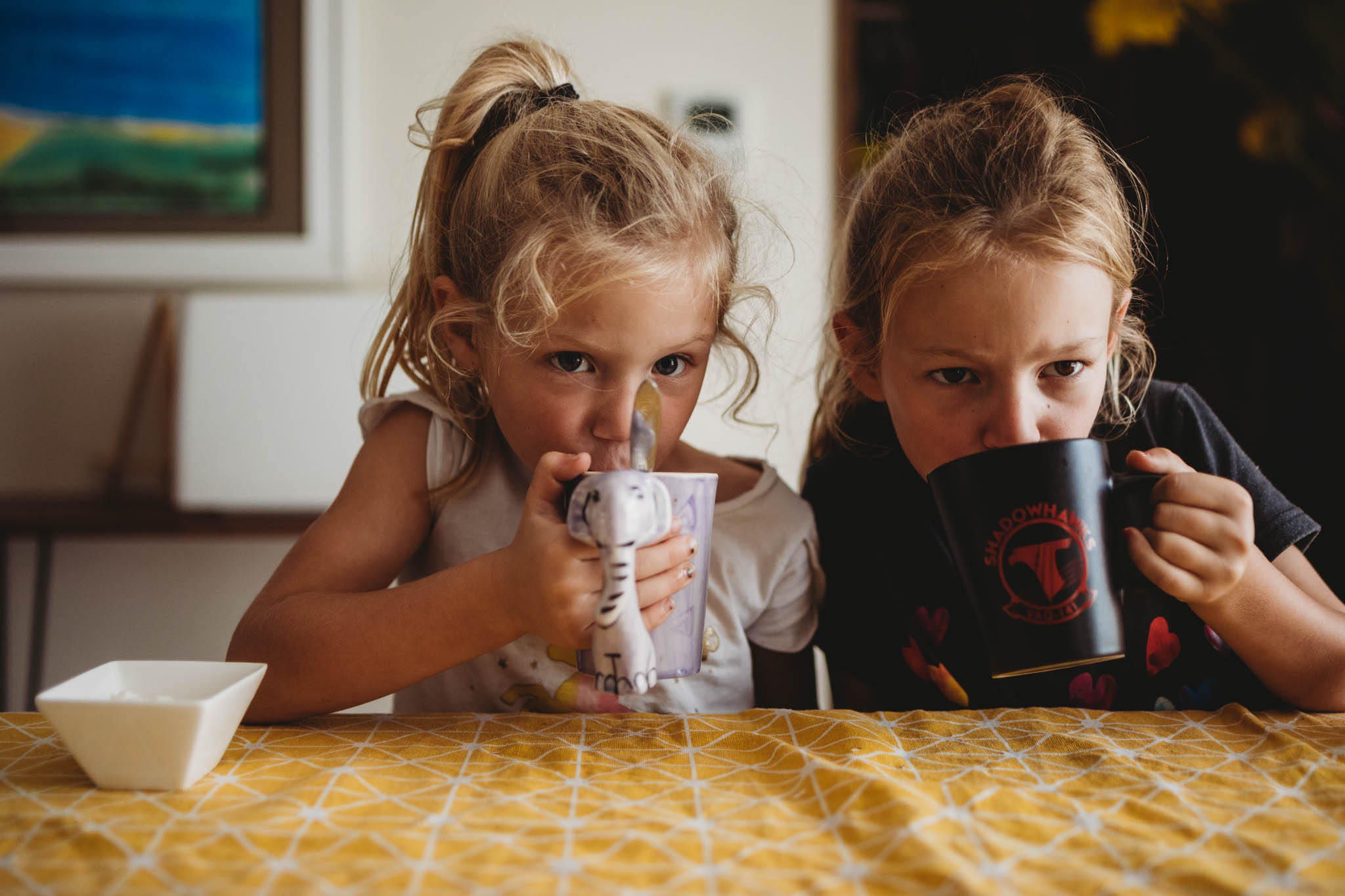 I do a read aloud (usually our bible story) while they drink tea, coffee or hot chocolate