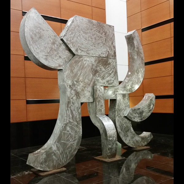 Akbar's Elephant  Stainless steel, 16' high, 2000. Installed in the Fox Tower lobby, Portland, Oregon, 2017.