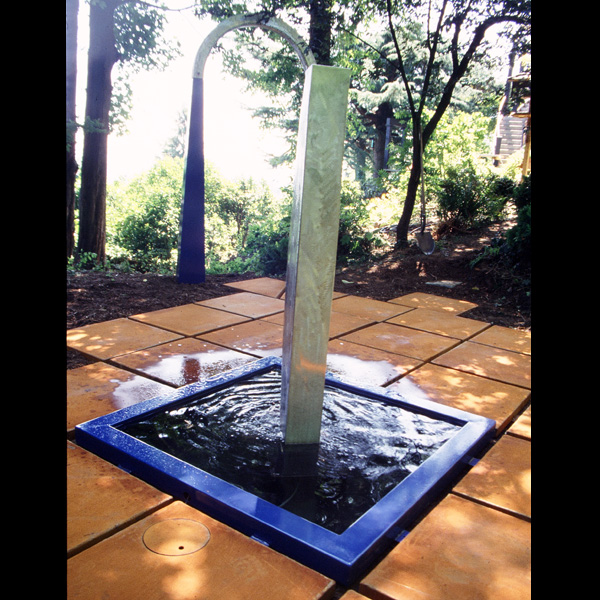 Private garden, Portland, Oregon  Cor-Ten steel pavers, stainless steel fountain and arch elements, porcelain enamel pool rim. 1987.