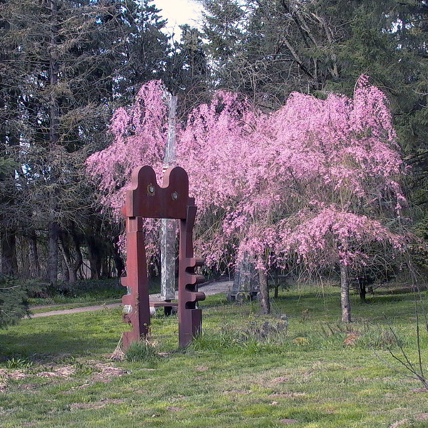 Springtime at Leland Iron Works   Coberg Gate  (foreground) and  Susan's Song  (rising above the plum trees) at Lee Kelly's studio.
