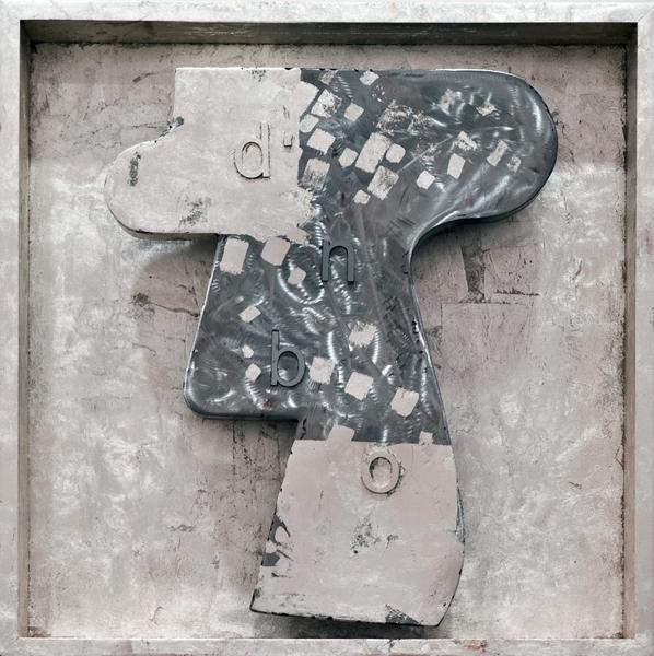 "Bones Box D  Steel, wood frame, white gold leaf, 2009. 24"" x 24"" x 4.75"""