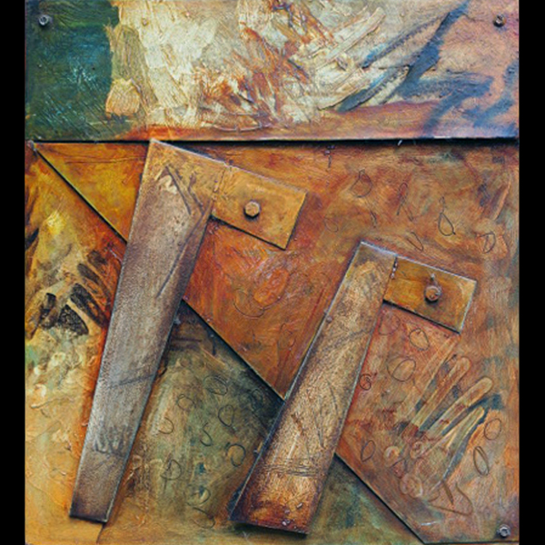 "Untitled wall panel  Painted steel, 1990. 16"" x 16"" x 2"""