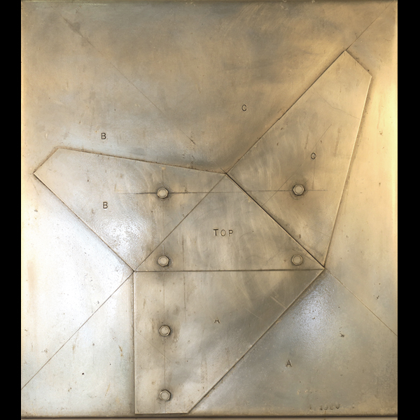 "Wall relief  Aluminum, 1982. 18.5"" x 17"" x 1"""