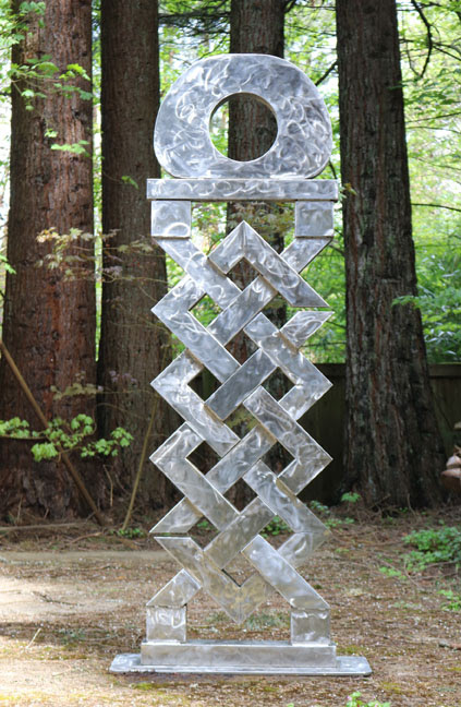 "Tibetan Gate  , 2017. Stainless steel, 96"" x 40"" x 15.5."" Photo courtesy of the Elizabeth Leach Gallery."
