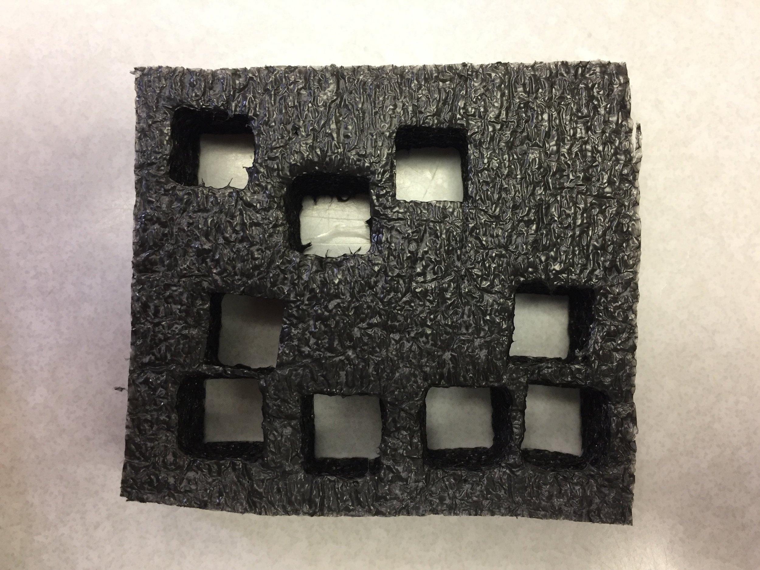 Sample cuts on foam