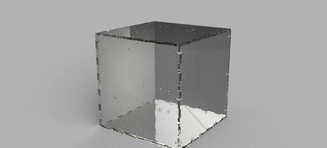 CAD rendering of the box in acrylic