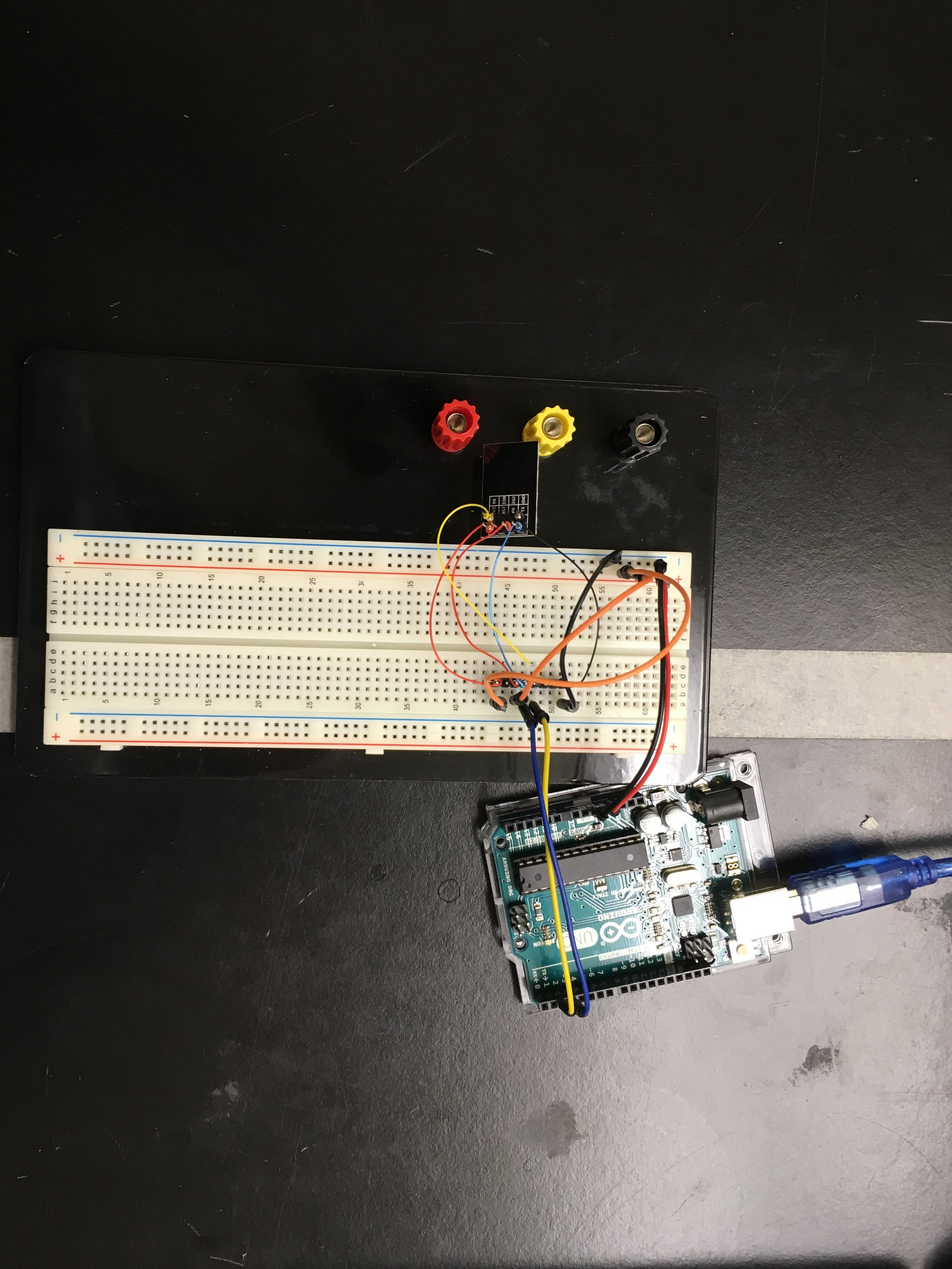 The ESP and Arduino wired up
