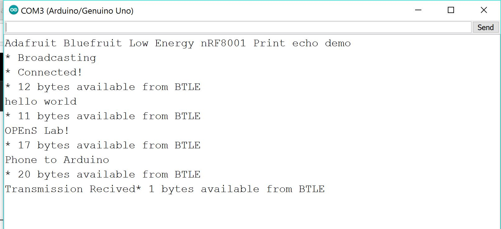 Snip from the Arduino Serial Monitor during testing
