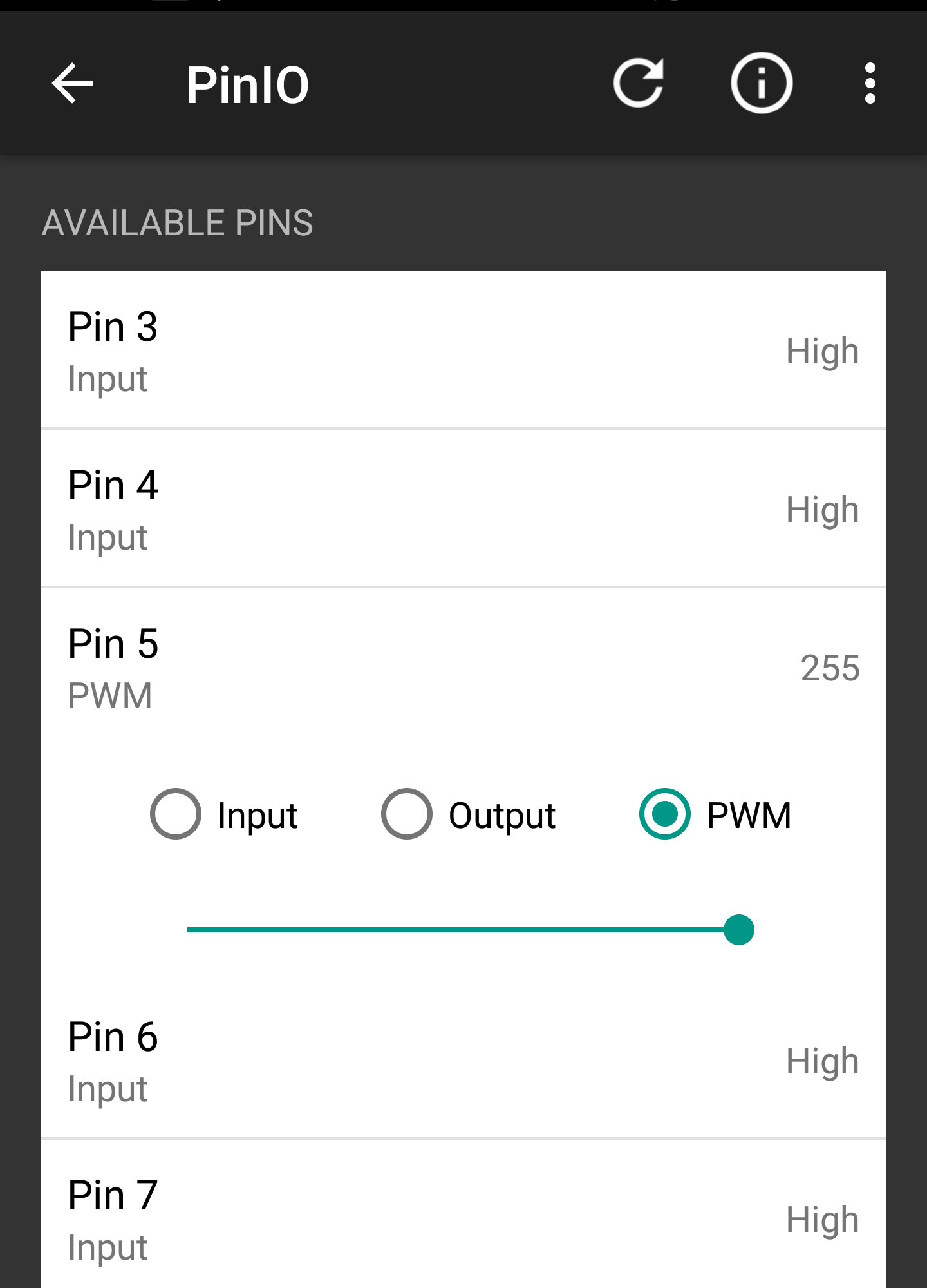 The PWM slider was moved all the way to right to allow for maximum signal strength