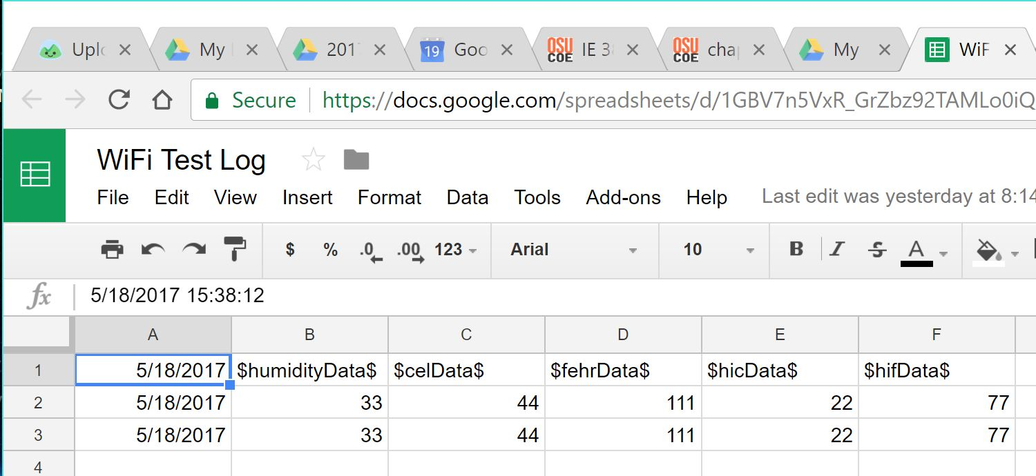 Pseudo data from the Arduino was successfully pushed the the Gateway generated by The PushingBox API to Google Sheets