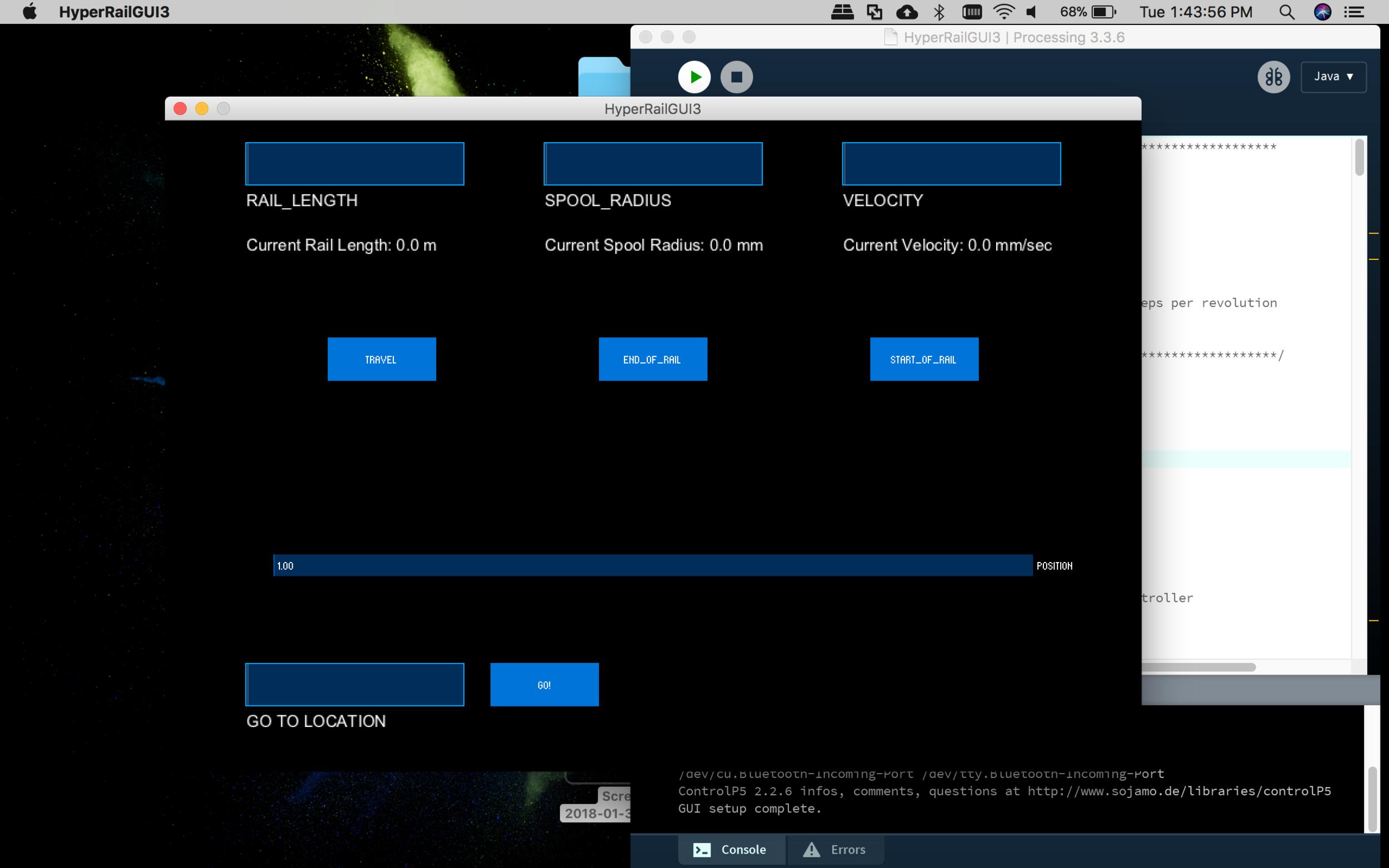 Screenshot of the HyperRail GUI