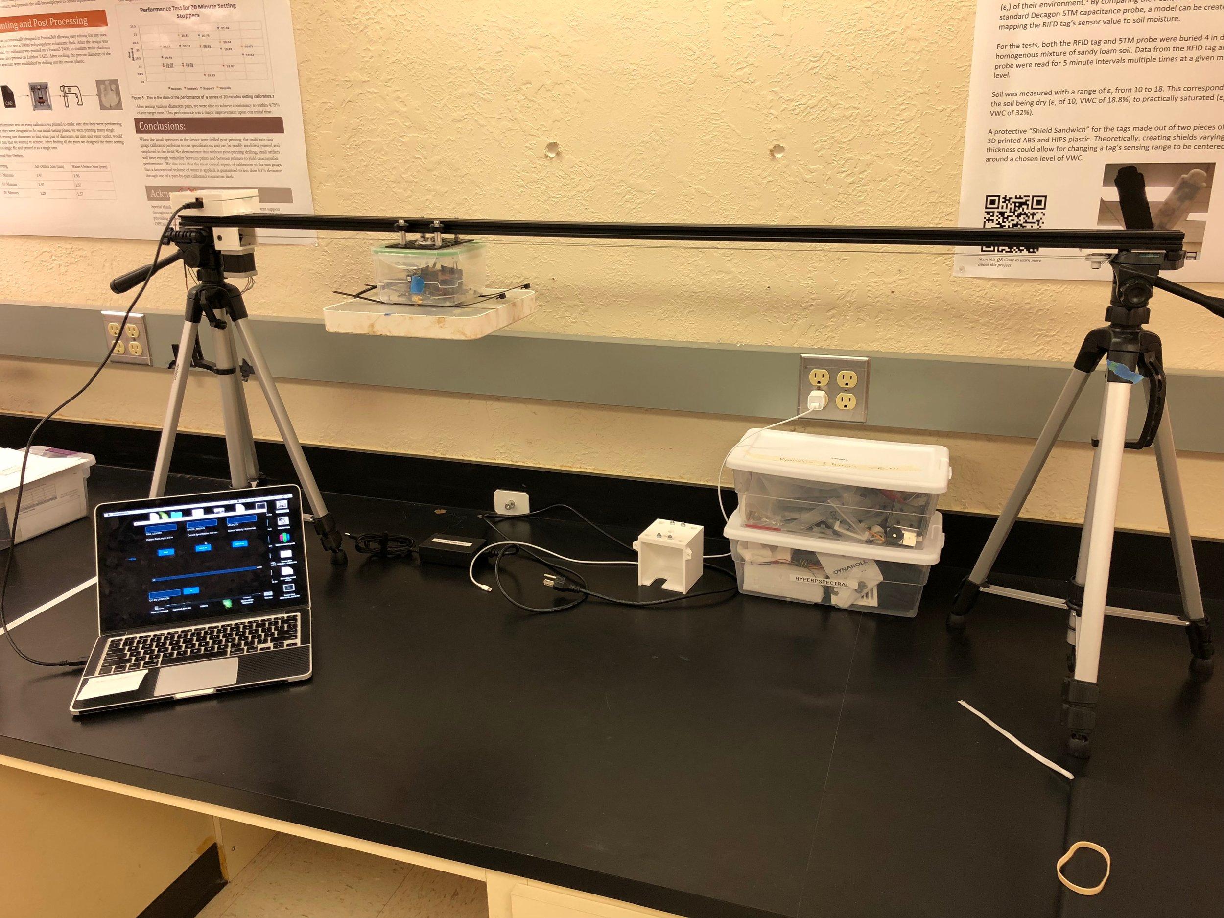 Demo version of the HyperRail with soil moisture sensor sytem installed