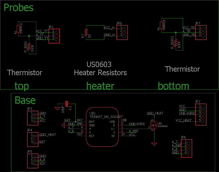 Schematic of the Sap Flow/Flux sensor with thermistor temperature sensors.