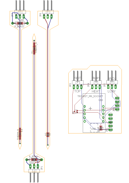 Image of the board design for Sap Flow sensor with thermistor temperature sensors. The two probes on the left are the thermistors and the one on the right is the heater probe. The PCB on the right houses an Adafruit M0 Trinket.