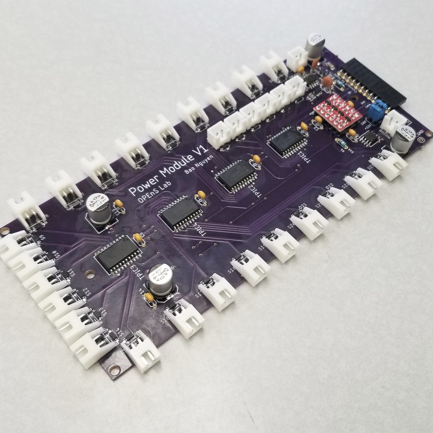 First glimpse of the new PCB - This is the first prototype for the new PCB design for the eDNA and will be used for the newer version of the OpenSampler. This is the Power Module board and will be plugged in with two more boards: Logic Module and Sensor Module.
